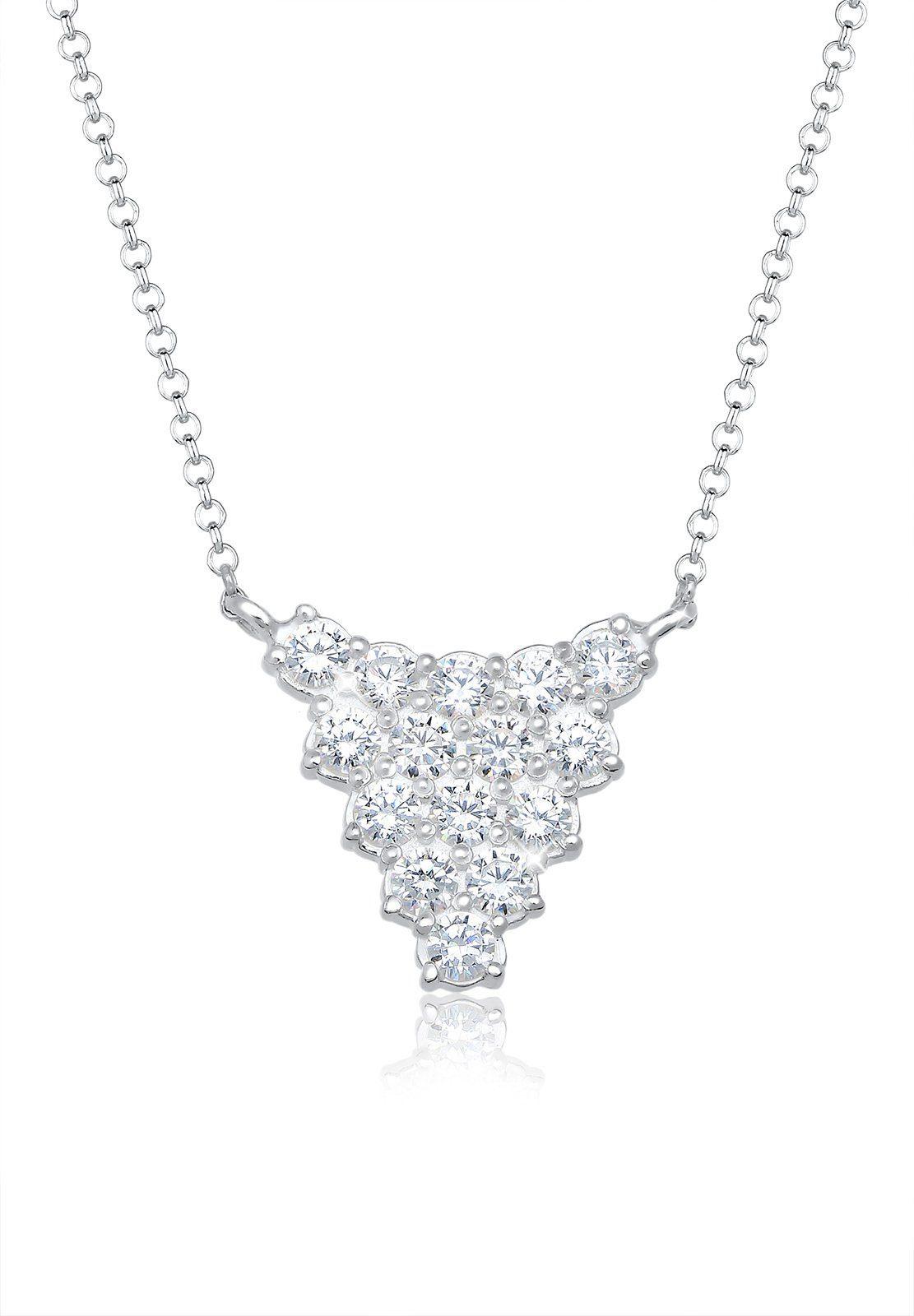 Elli Halskette »Collier Dreieck Zirkonia 925 Sterling Silber«