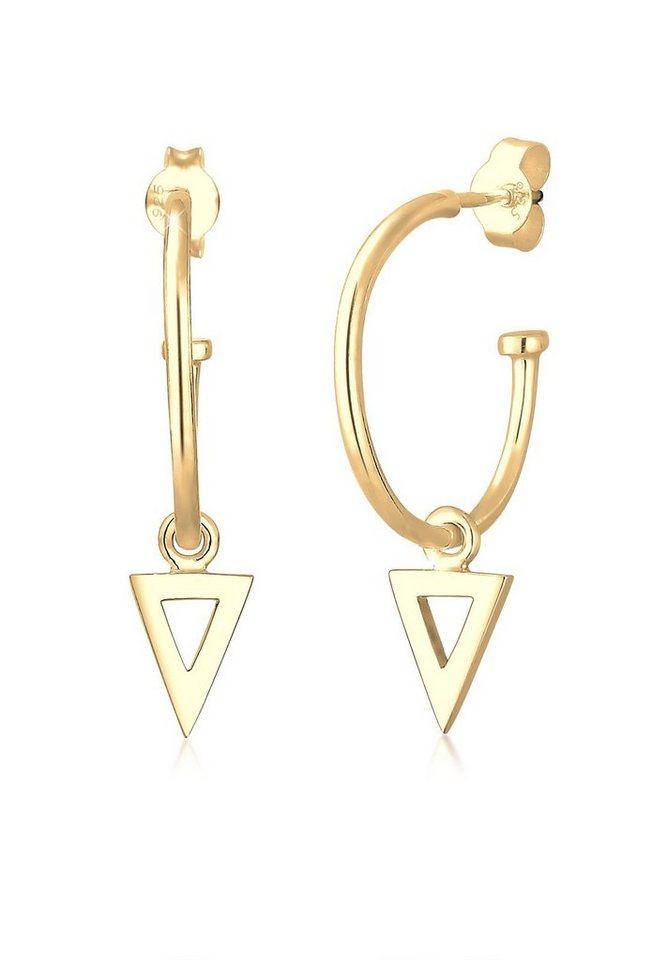 Elli Ohrringe »Creole Dreieck 925 Sterling Silber« in Gold