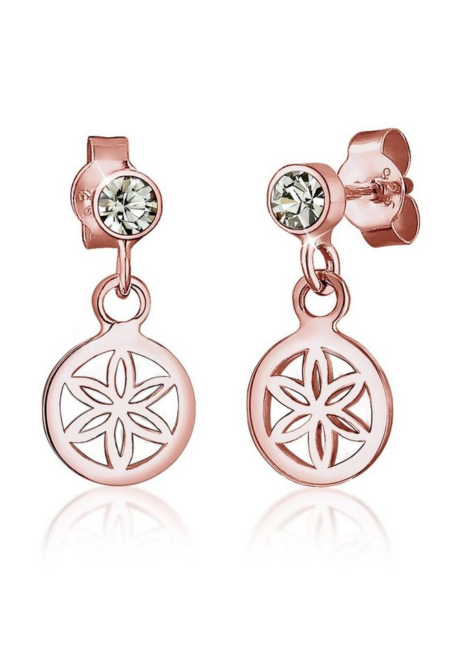 Elli Ohrringe »Blume Swarovski® Kristalle 925 Sterling Silber« in Rosegold
