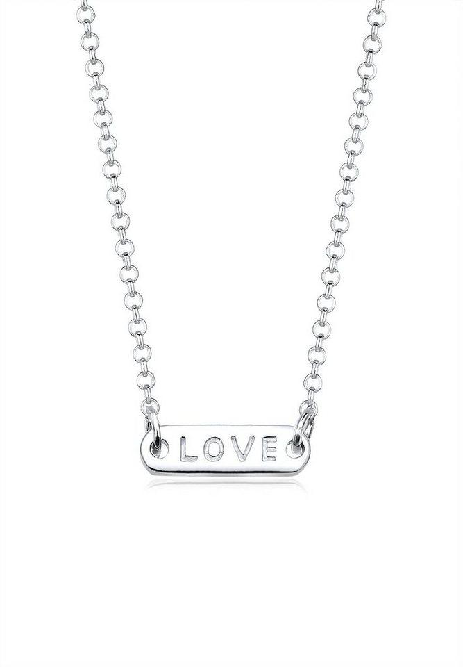 Elli Halskette »Love-Schriftzug Statement 925 Sterling Silber« in Silber