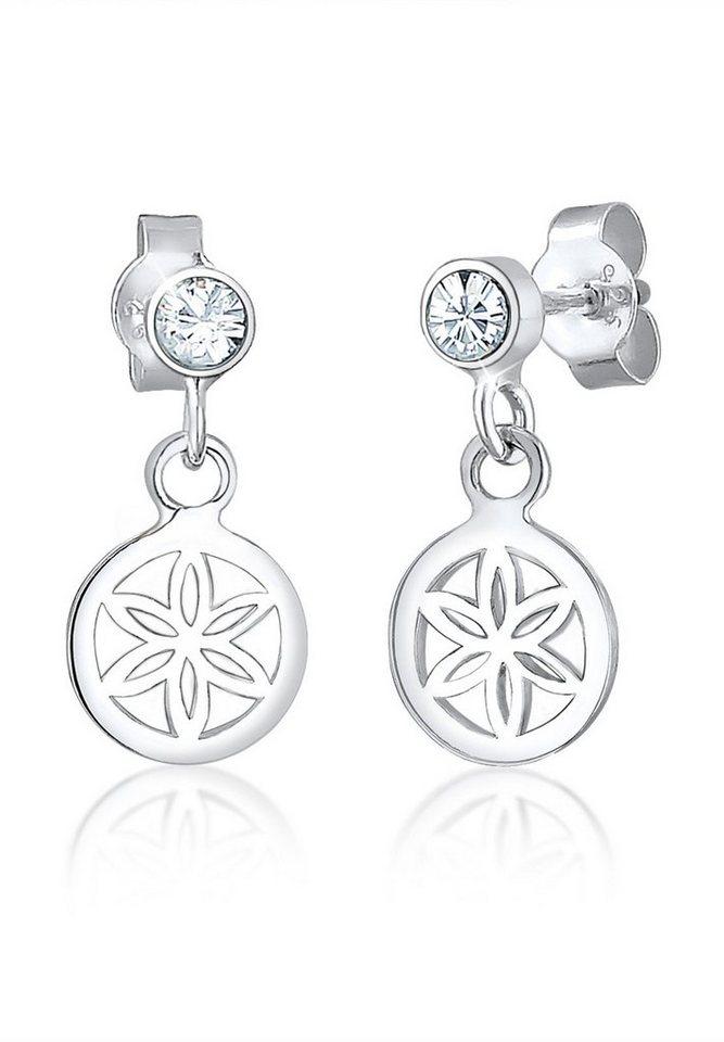 Elli Ohrringe »Blume Swarovski® Kristalle 925 Sterling Silber« in Silber