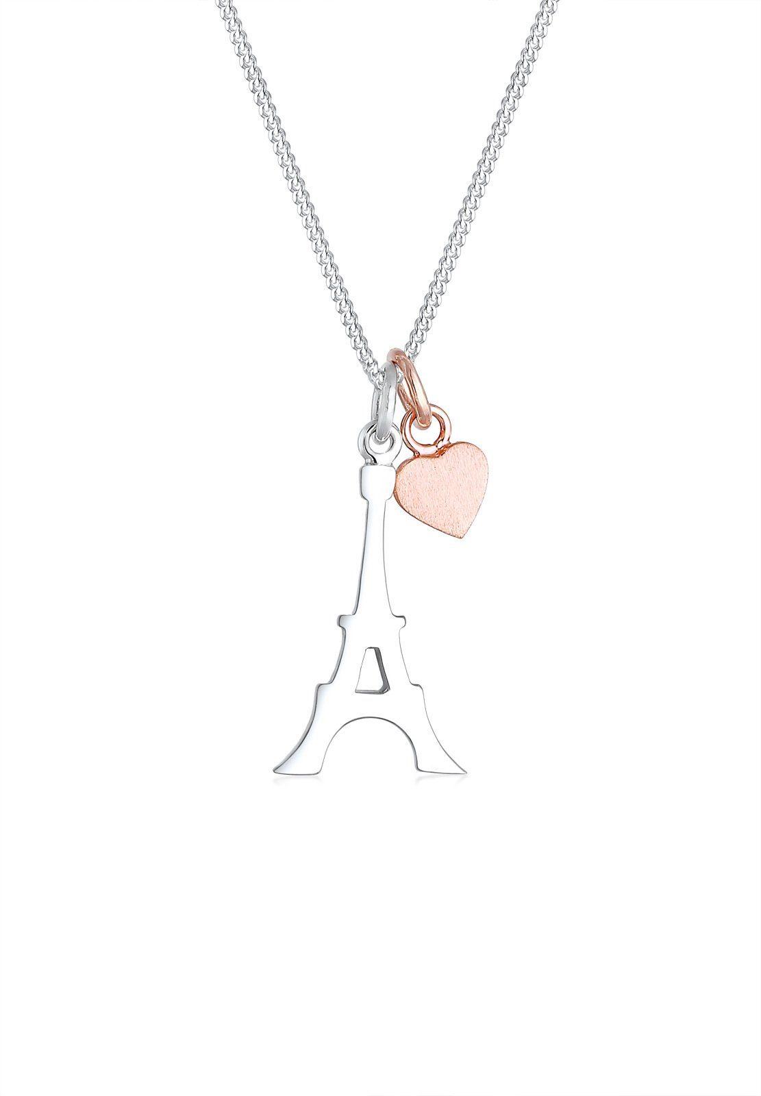 Elli Halskette »Eiffelturm Herz matt 925 Sterling Silber«