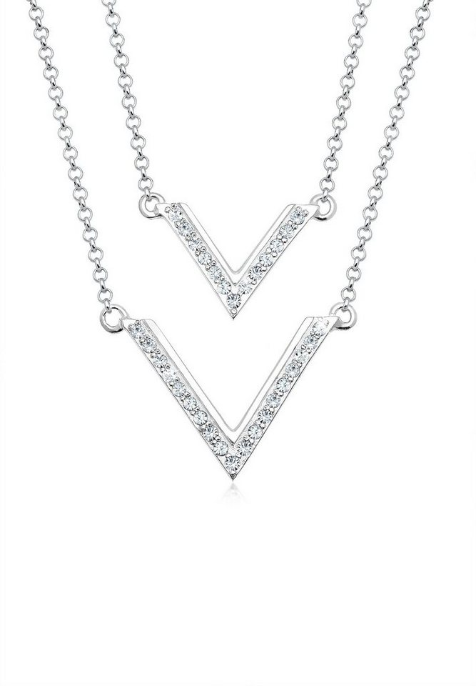 Elli Halskette »Dreieck Swarovski® Kristalle 925 Sterling Silber« in Silber