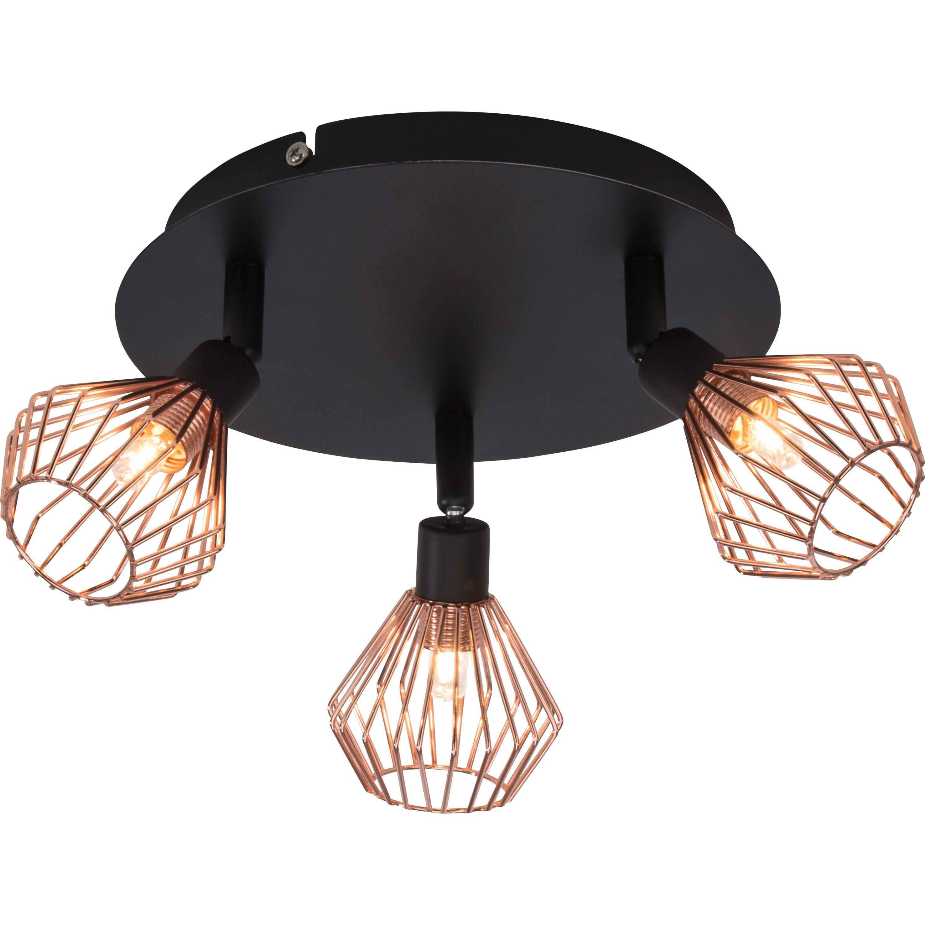 Brilliant Leuchten Dalma Spotrondell, 3-flammig schwarz/kupfer