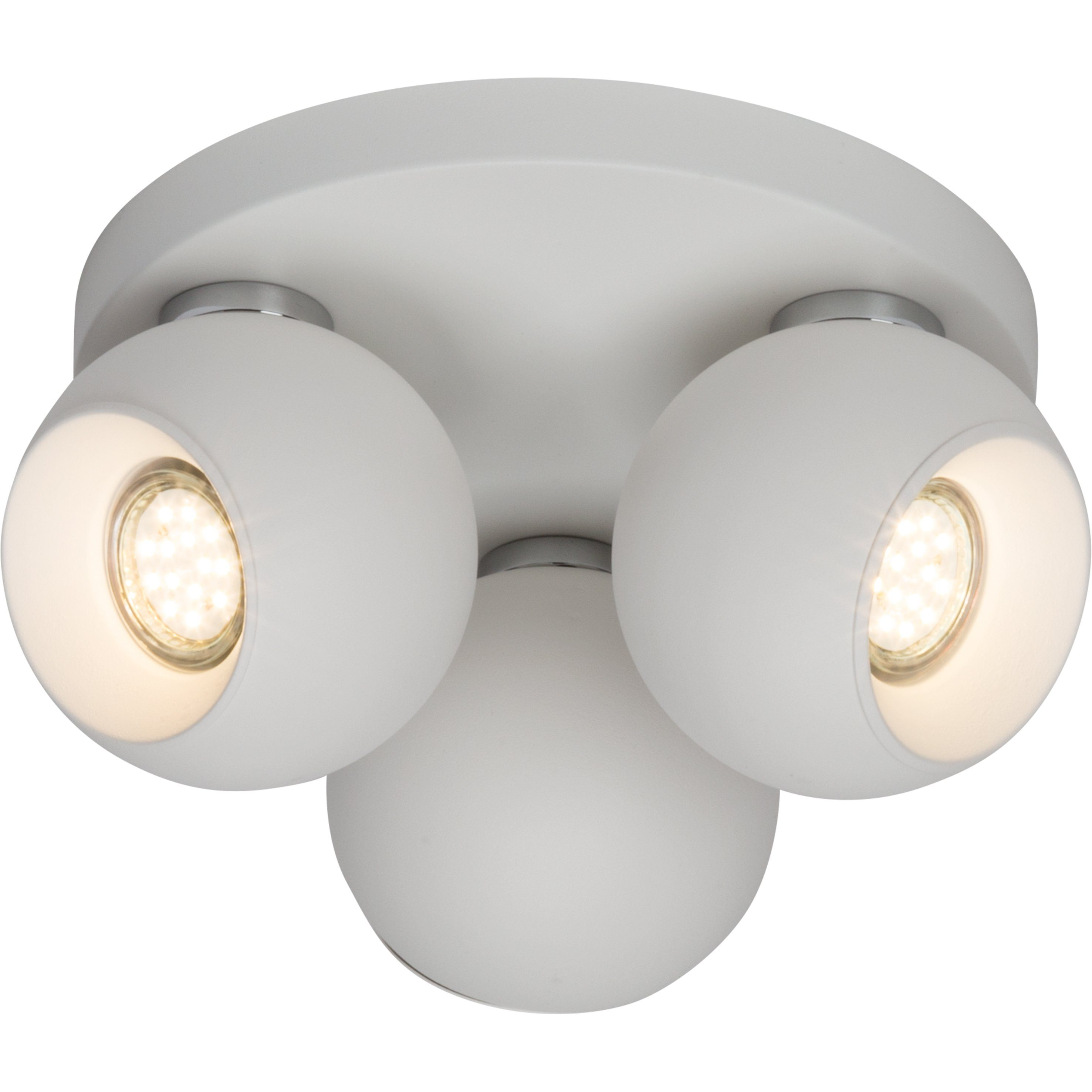 Brilliant Leuchten White Ball Spotrondell, 3-flammig weiß