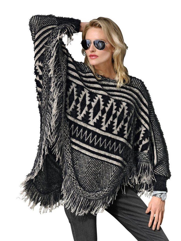 Alba Moda Strickponcho in schwarz/weiß