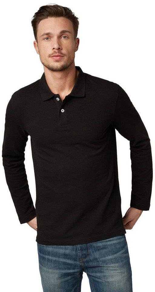 TOM TAILOR Poloshirt »Langärmliges Polo-Shirt« in black