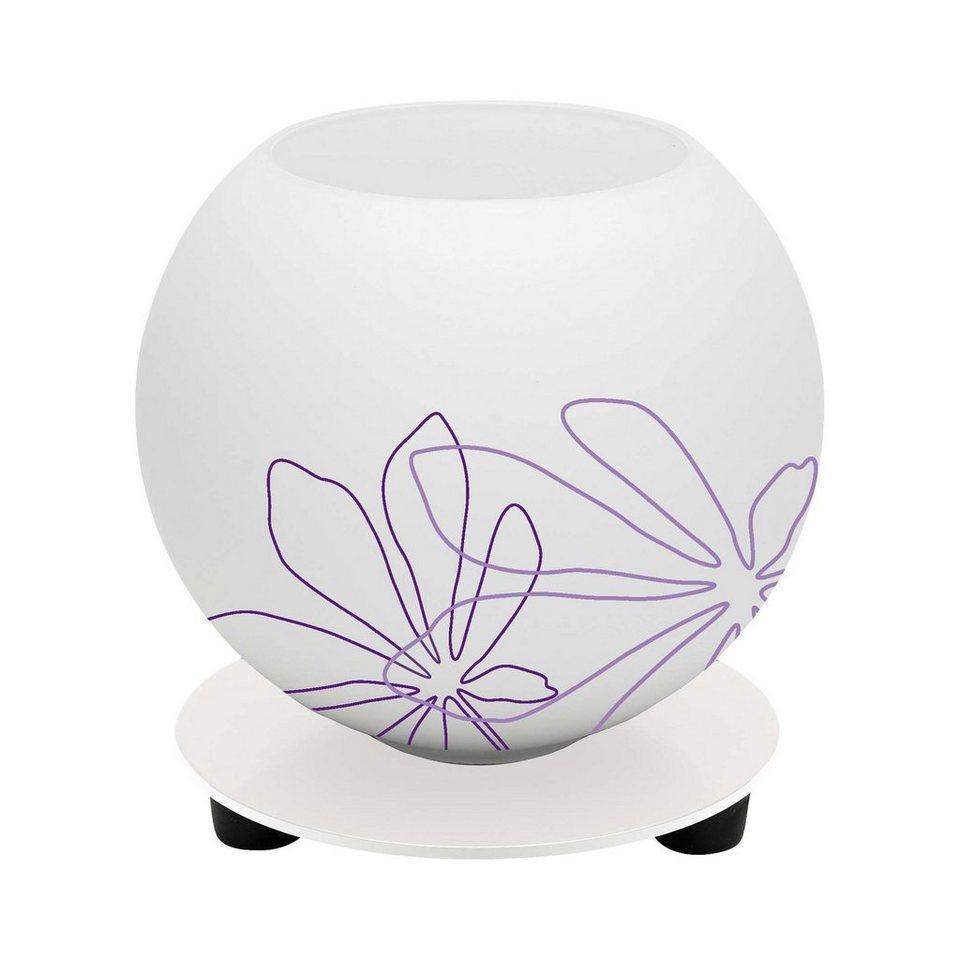 Brilliant Leuchten Pop Tischleuchte weiß/violett floral Deko in weiß/violett