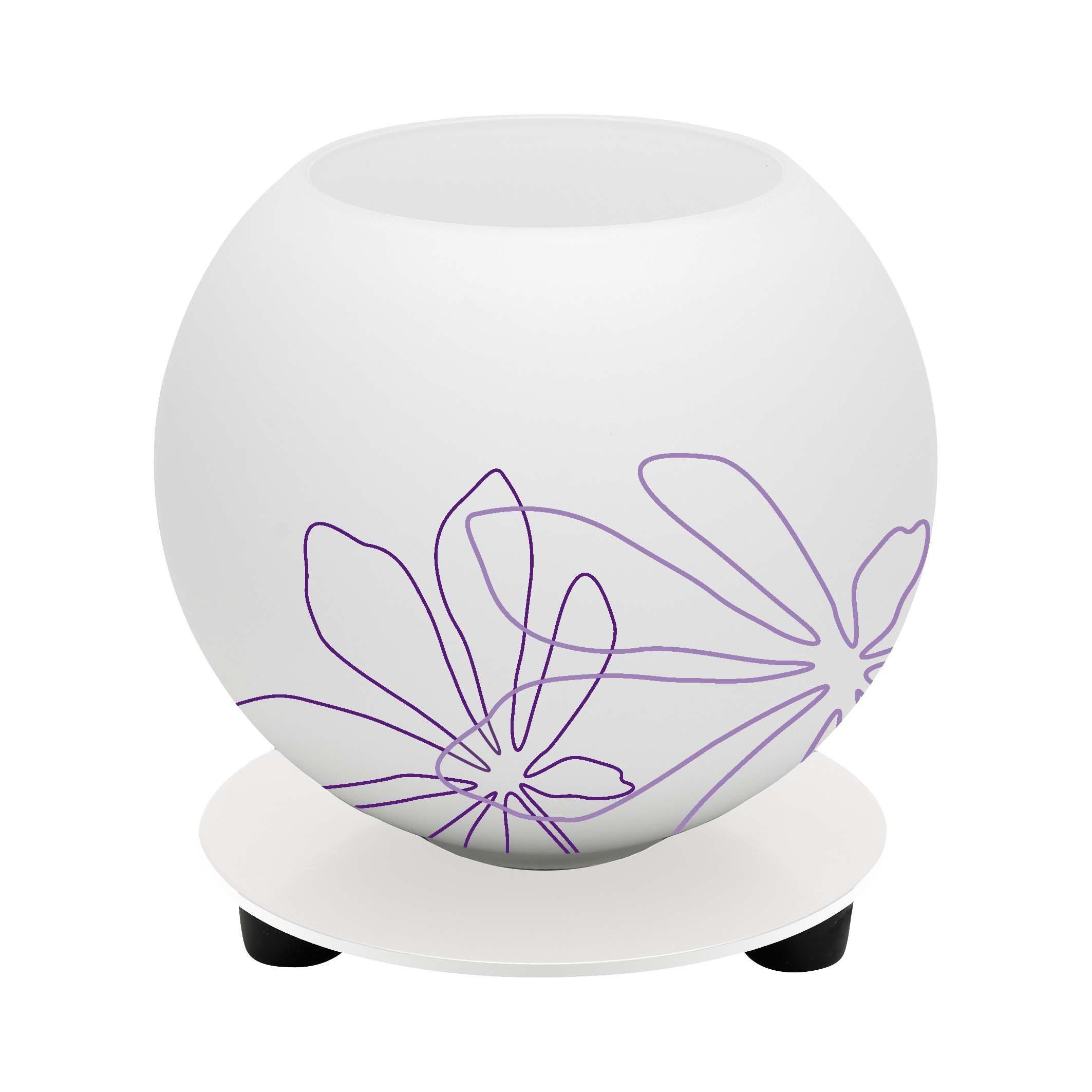 Brilliant Leuchten Pop Tischleuchte weiß/violett floral Deko
