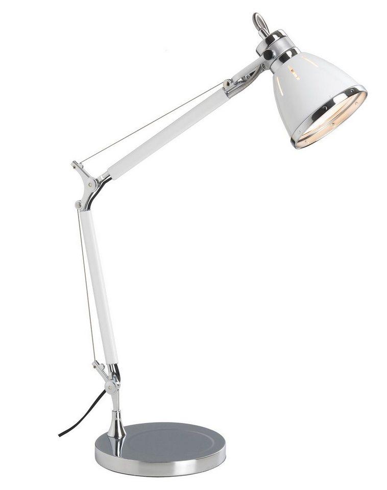 Brilliant Leuchten Octavia Tischleuchte chrom/weiß in chrom/weiß