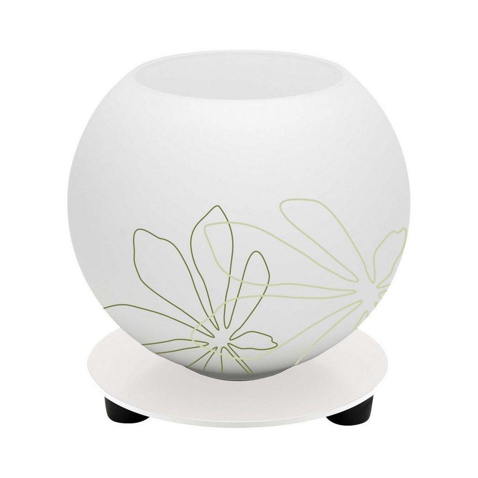 Brilliant Leuchten Pop Tischleuchte weiß/grün florales Muster in weiß/grün