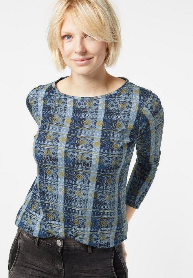 CECIL Shirt mit allover Print in deep sea blue