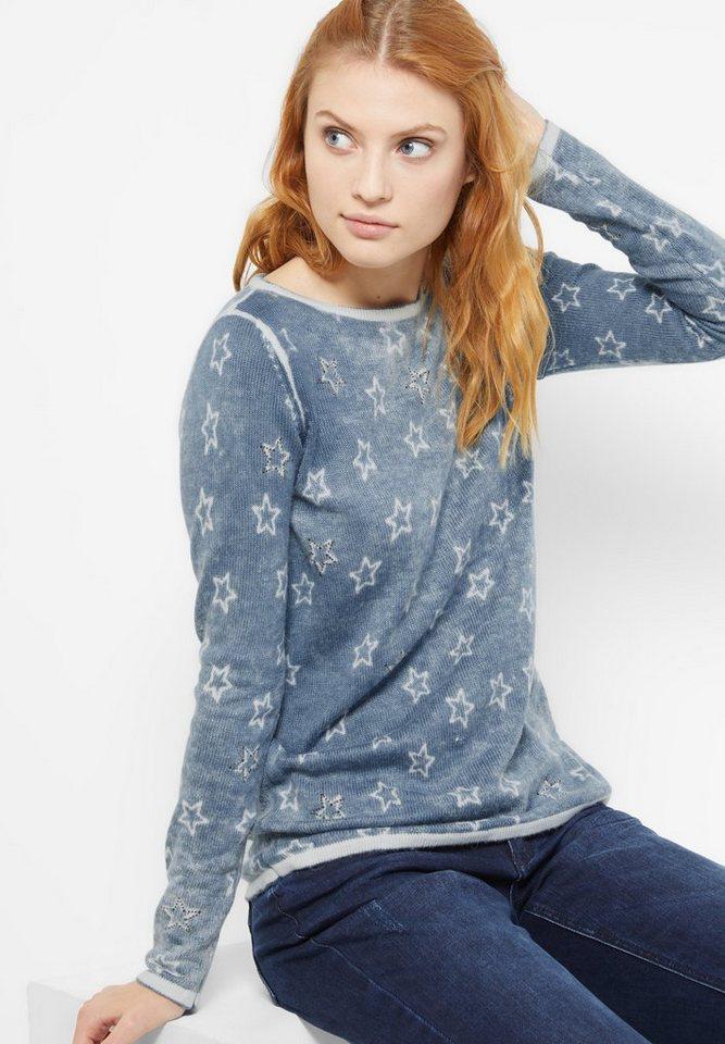 Street One Pullover mit Sternen Ella in sterling blue