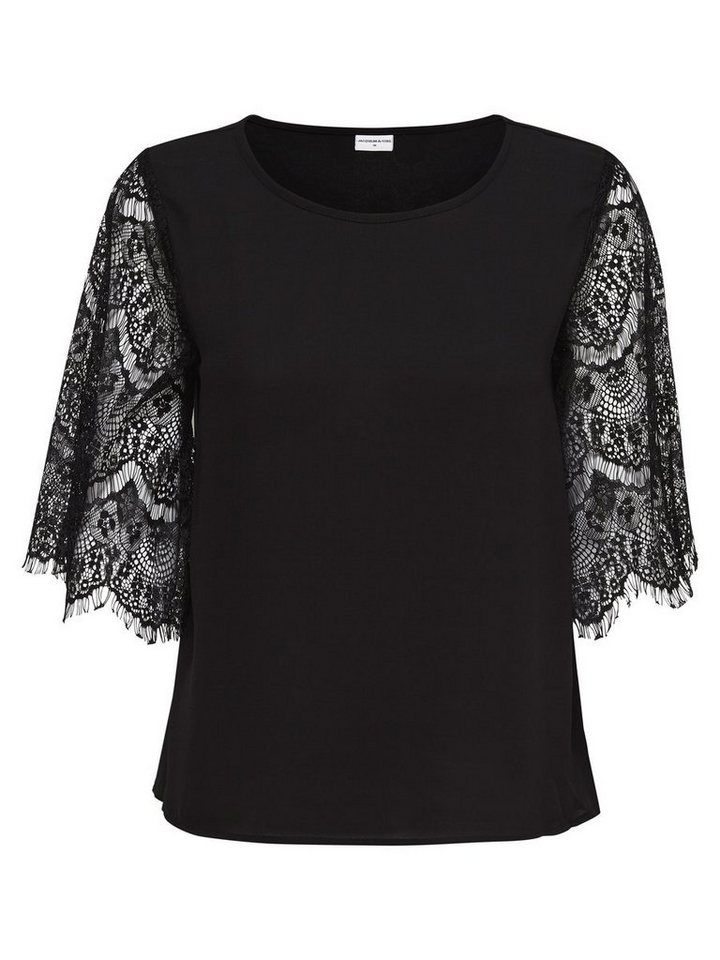 Only Spitzen- Bluse mit 2/4 Ärmeln in Black