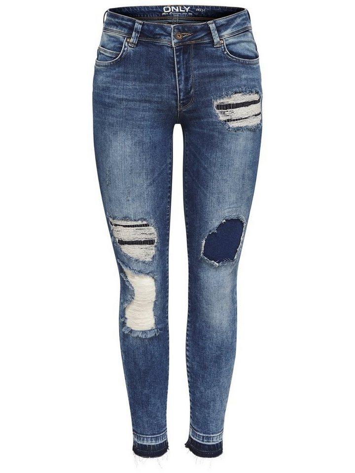 Only Carmen reg repair ankle Skinny Fit Jeans in Light Blue Denim
