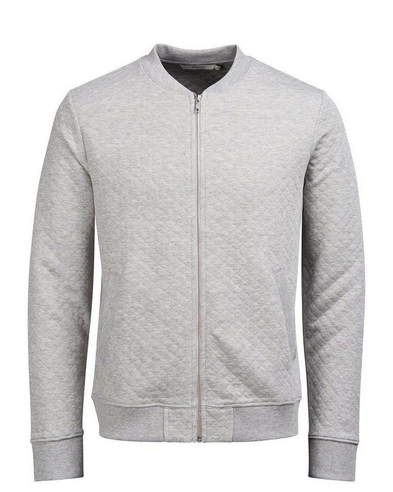 Jack & Jones Gefüttertes Baseball- Sweatshirt mit Reißverschluss in Light Grey Melange 2