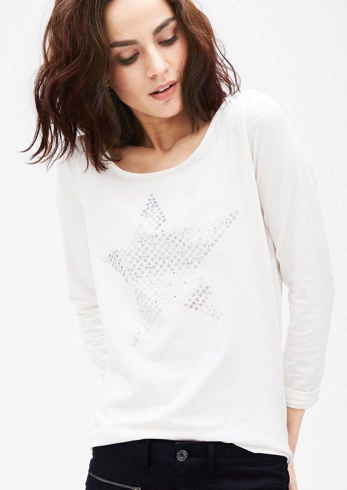s.Oliver BLACK LABEL Langarmshirt mit Metallic-Print in warm creme