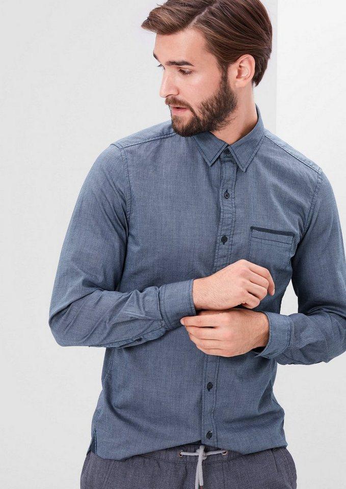 s.Oliver RED LABEL Slim: Fein gemustertes Hemd in medieval blue