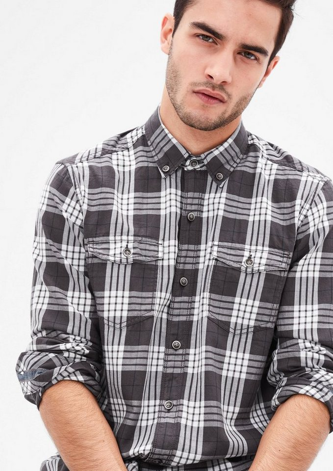 s.Oliver RED LABEL Regular: Hemd mit Denim-Details in tech grey