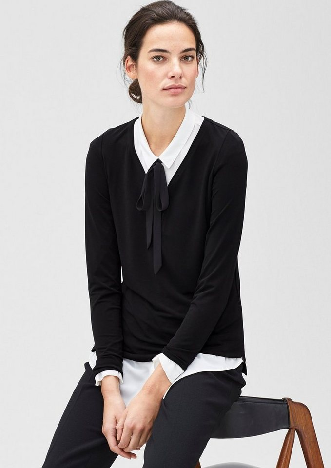 s.Oliver BLACK LABEL Shirt mit Paspel-Ausschnitt in love black