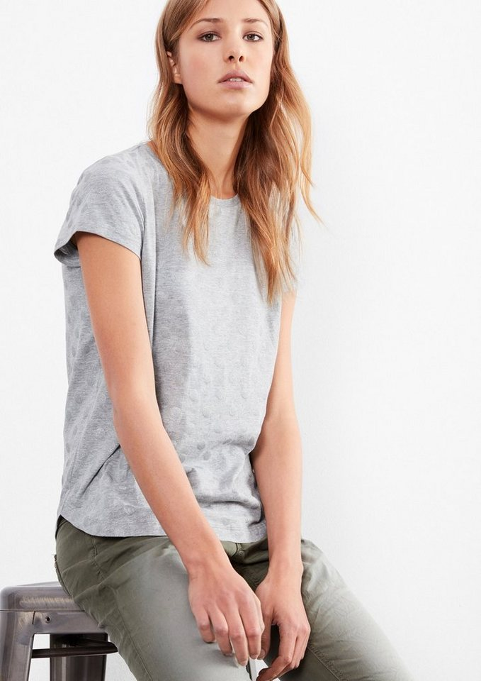 Q/S designed by T-Shirt mit Glitzerpunkten in grey melange AOP