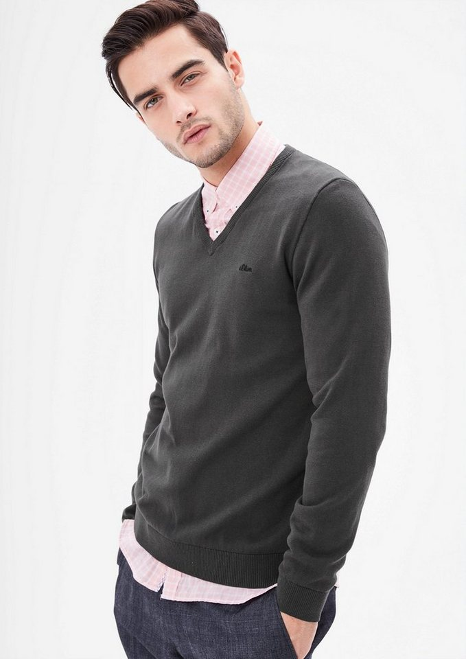 s.Oliver RED LABEL Feinstrickpulli mit V-Neck in tech grey
