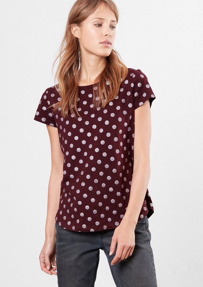 Q/S designed by T-Shirt mit Glitzerpunkten in cherry