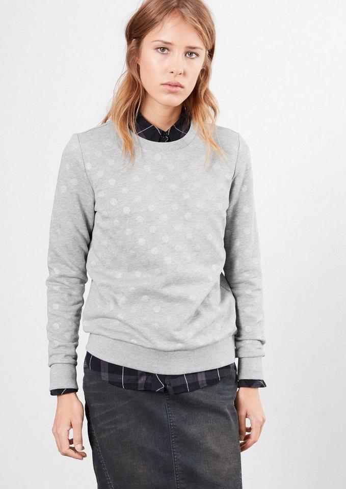 Q/S designed by Sweatshirt im Pünktchen-Look in grey melange