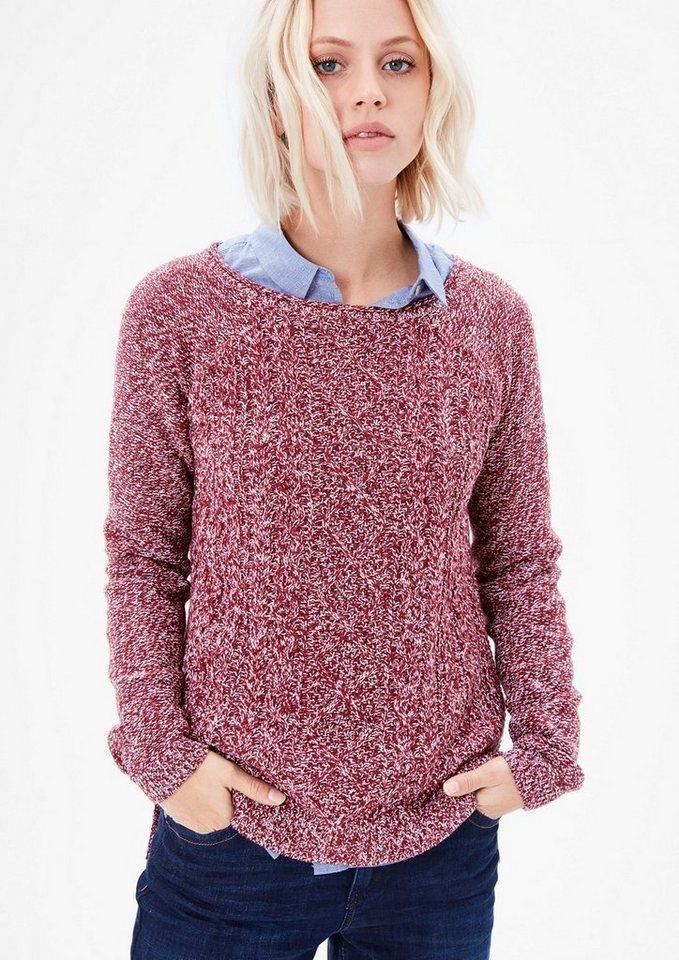s.Oliver RED LABEL Melange-Pulli mit Musterfront in ruby wine knit