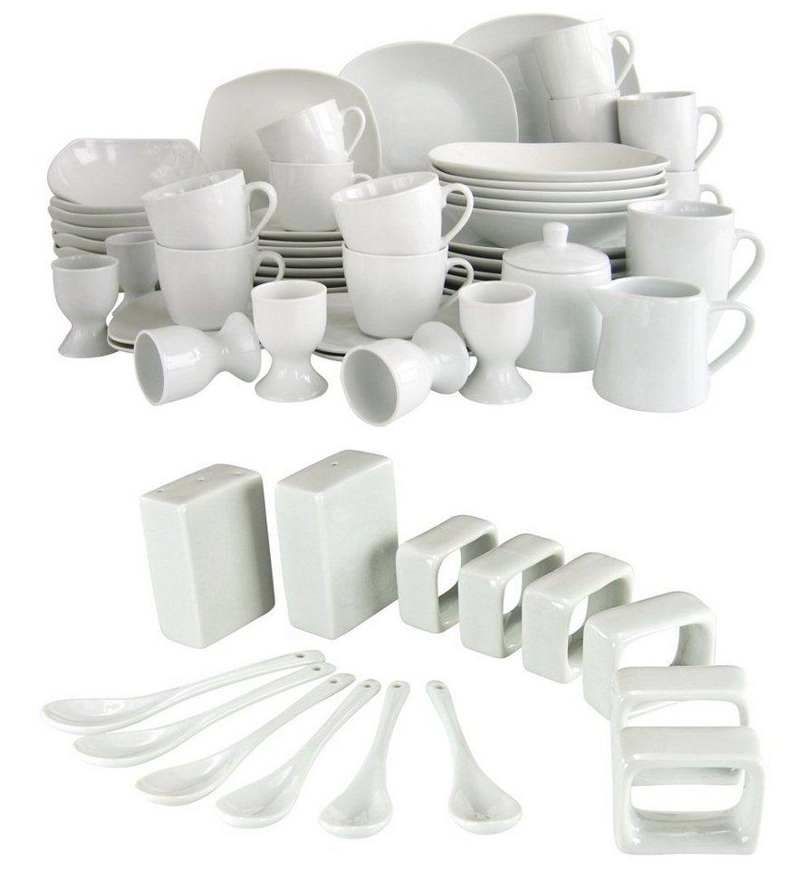 CreaTable Kombiserivce, 50 Teile + 14 Teile GRATIS, Porzellan, »Square« in weiß