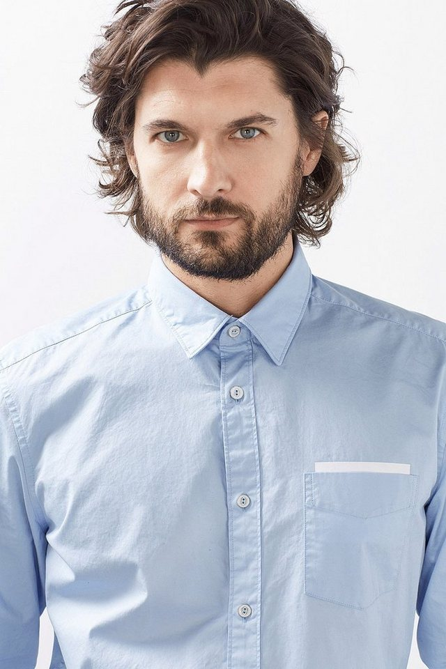 ESPRIT CASUAL Kerniges Baumwoll Hemd mit Folien-Prints in LIGHT BLUE