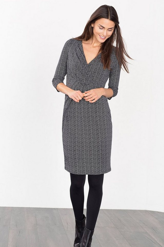 ESPRIT COLLECTION Stretch Print-Kleid mit Drapage in BLACK