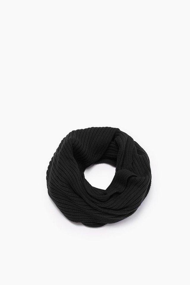 ESPRIT CASUAL Rippschal aus Baumwolle mit Wolle in BLACK