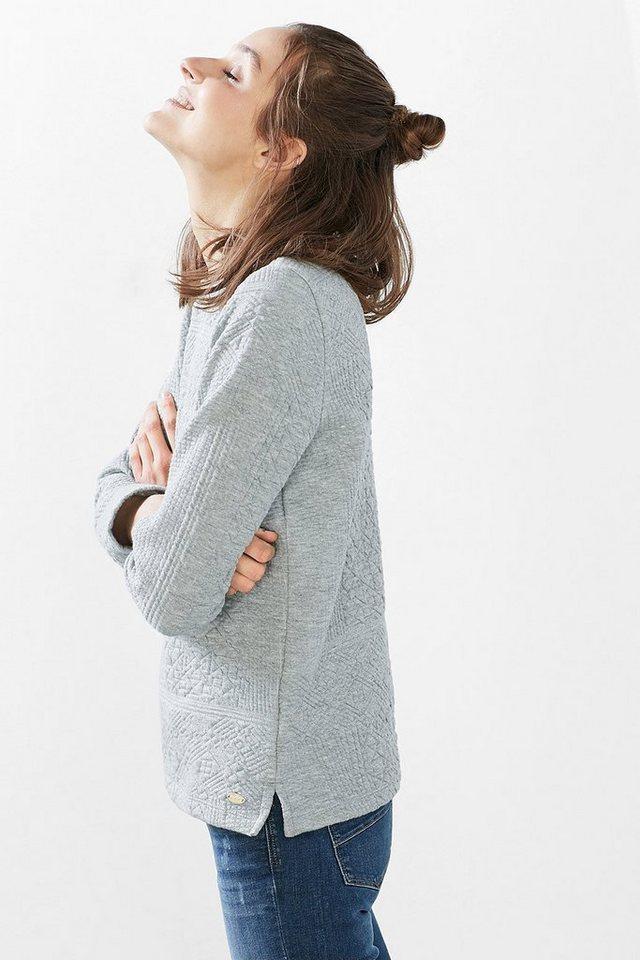 EDC Sweatshirt mit Steppmuster in PASTEL GREY