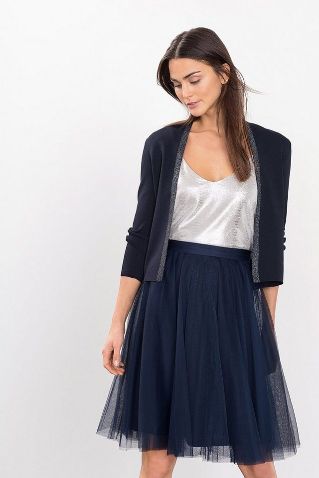 ESPRIT COLLECTION Feinstrick-Cardigan mit Glanzakzent in NAVY