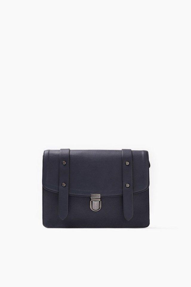 ESPRIT CASUAL Tasche im Leder-Look mit Tornisterschließe in NAVY