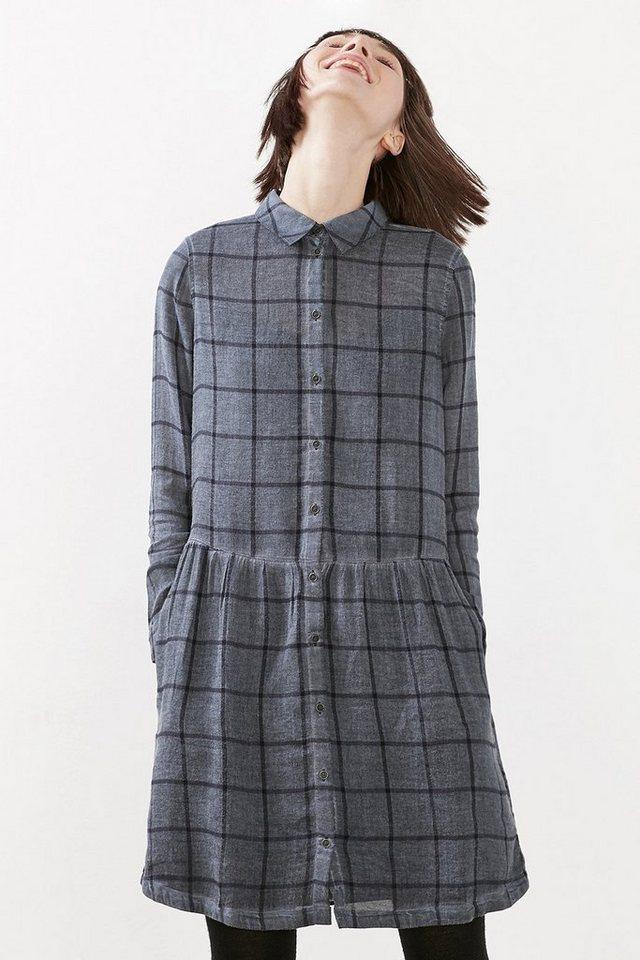 EDC Kariertes Kleid im Washed-Look in NAVY