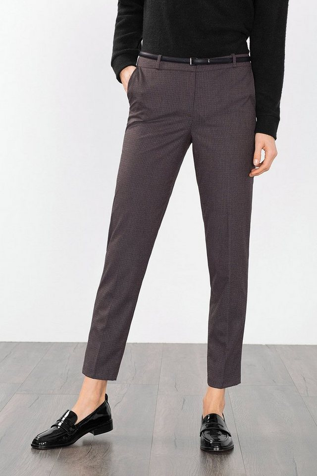 ESPRIT COLLECTION Karohose mit Gürtel in BROWN GREY