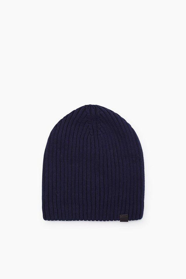 ESPRIT CASUAL Baumwoll/Woll-Mütze aus doppeltem Strick in NAVY