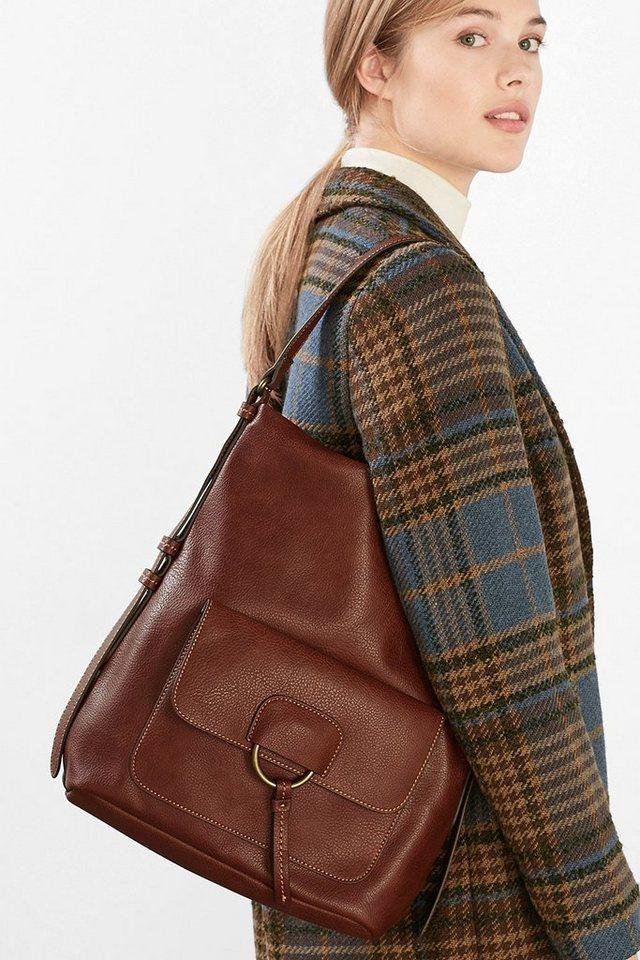 ESPRIT CASUAL Softe Hobo Bag im Leder-Look in BROWN