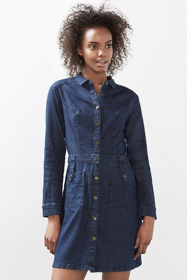EDC Kleid aus dunklem Stretch-Denim in BLUE DARK WASHED