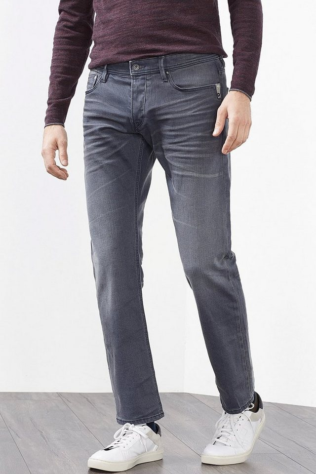EDC 5-Pocket Jeans aus Stretch-Denim in GREY MEDIUM WASHED