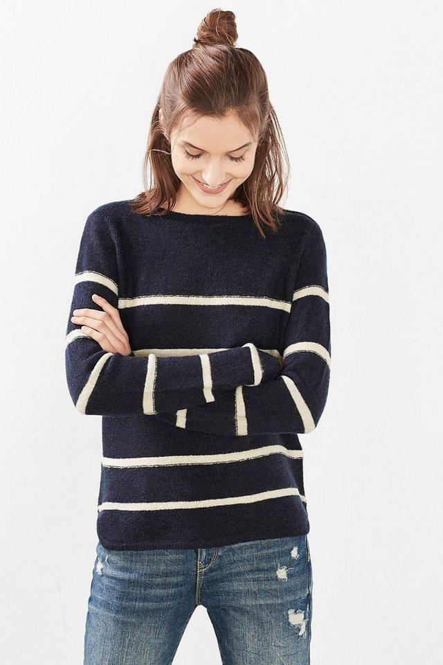EDC Gestreifter Sweater mit Woll-Blend in NAVY