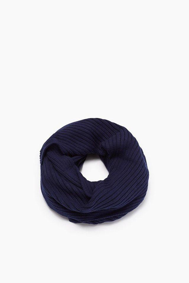 ESPRIT CASUAL Rippschal aus Baumwolle mit Wolle in NAVY