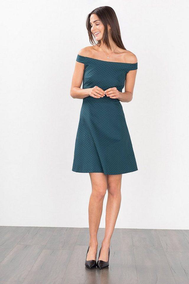 ESPRIT COLLECTION Jacquard Offshoulder Kleid in BOTTLE GREEN