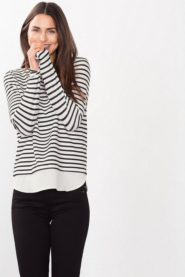ESPRIT COLLECTION Stretch Crepe Shirt mit Layer in OFF WHITE