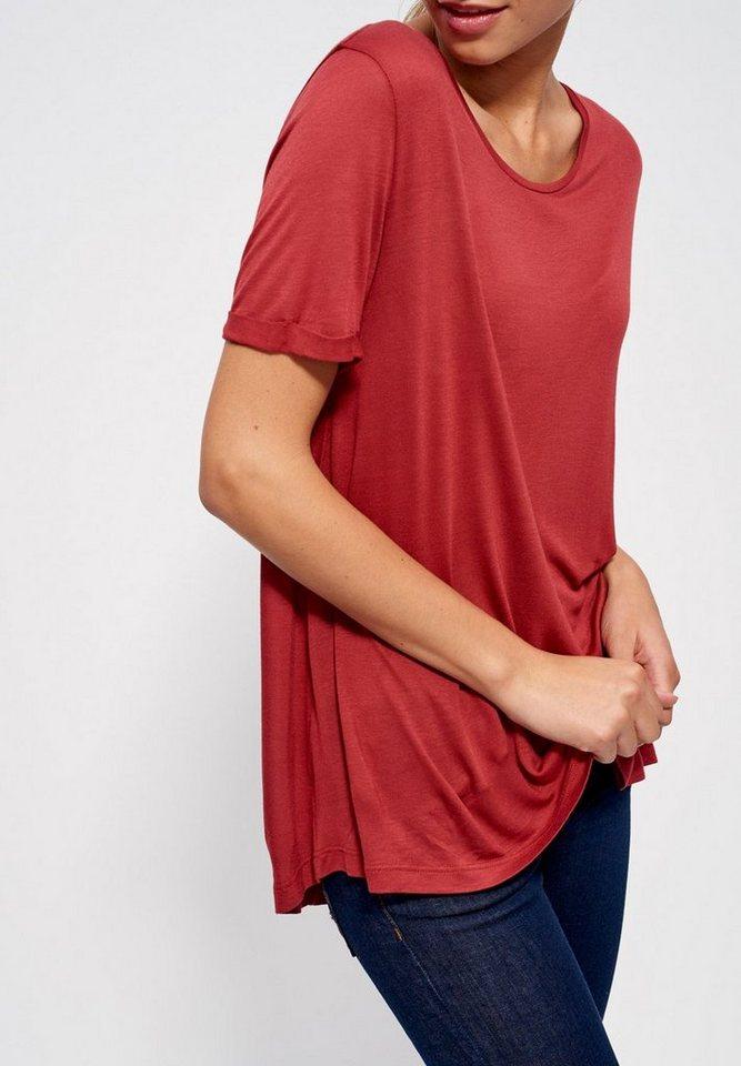 Mexx T-Shirt loose fit mit Ärmelaufschlag in ziegelrot
