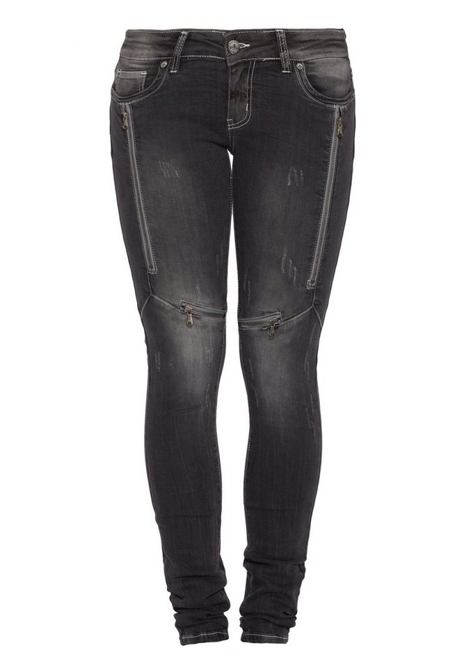 Blue Monkey Skinny-fit-Jeans »Lucy 1108« in grau