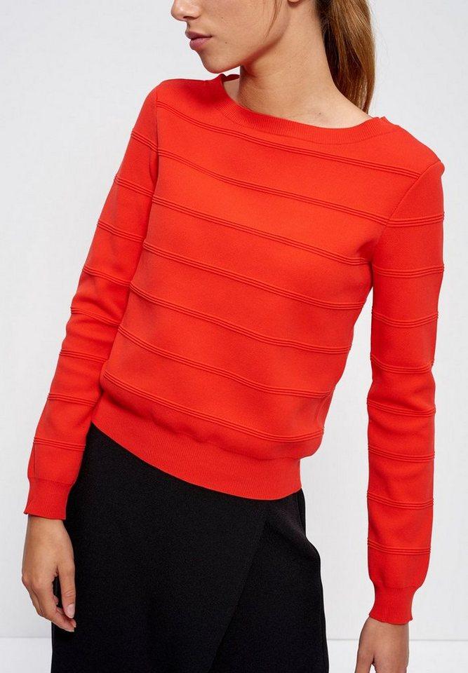 Mexx Sweatshirt mit Strukturstreifen in orange