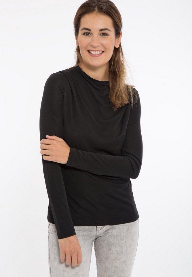 Mexx Langarmshirt mit Schulterdetail in schwarz